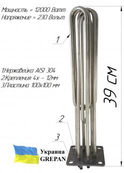 Блок-ТЭН 12,0 кВт 230/380B на стальной пластине
