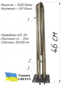 Блок-ТЭН 15,0 кВт 240/380B на стальной пластине